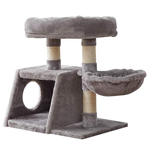 IBUYKE 58cm Kratzbaum Wohnungm it Sisalstämmen Katzenturm mit Luxus Großer Plattform, 1 Spielhaus und 1 Korb,Kätzchen Hausmöbel Bäume Hellgrau CT001W