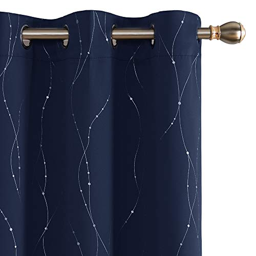 Deconovo Blackout Curtains Grommet Top Drapes Wave Line and Dots Printed Bedroom Blackout Curtains for Kids Room 38W x 63L Inch Navy Blue 2 Panels