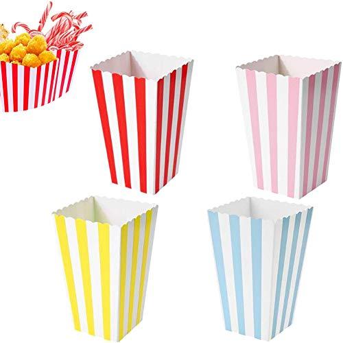WENTS Boîtes à Pop-Corn pour Bonbons, Boîtes à Bonbons, Sachets de Pop-Corn, Mini-boîte à Bonbons Popcorn Party Box pour Collations(Rose, Rouge, Bleu, Jaune)