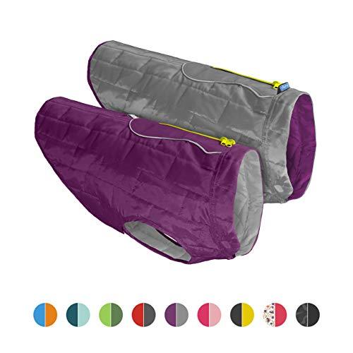 Kurgo Loft Jacket, Reversible Dog Coat, for Cold Weather, Water-resistant Dog Jacket with Reflective Trim, Purple/Grey, Medium