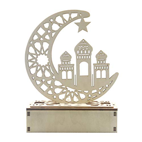 Exceart 1Pc Eid Mubarak Ornament Lichtdekoration Holz Islamisch Muslimisch Lichtdekoration Ornament für Esszimmer Wohnzimmer Schlafzimmer