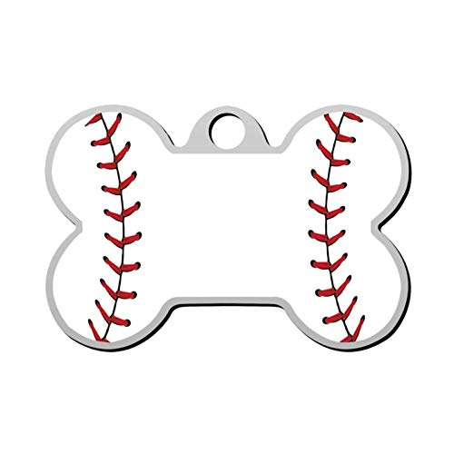 Baseball Ball Laces Pet Tag - Bone Shaped Dog Tag & Cat Tags Pet ID Tag Personalized Custom Your Pet's Name & Number 3D Printing