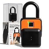 SHARPER IMAGE Fingerscan Digital Padlock, Biometric Keyless Code-Free Smart Lock, Rechargeable and IP66 Waterproof, Portable Security for Locker, Bike, Door, Gate, Home, Securely Unlock w/ Thumbprint