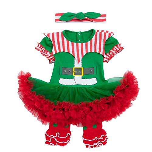 IZKIZF Baby Girls 1st Christmas Elf Costume Xmas Outfits Romper Tutu Dress with Headband and Leggings 0-3M Green