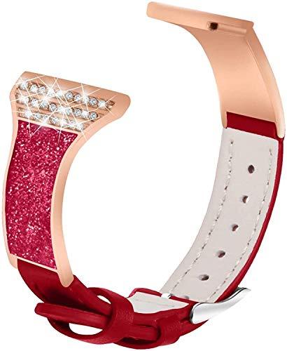 Frauen-Strap kompatibel mit Fitbit Versa 2 / Versa/Versa Lite, Keramik Strass-Armband dünnes echtes Leder Ersatzgurt kompatibel mit Versa 2 / Versa/Versa Lite (Red)