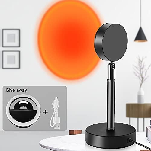 Lámpara de proyección de puesta de sol, luz nocturna LED, lámpara de pie, lámpara decorativa, se puede girar 180°, proyección efecto puesta de sol, adecuada para dormitorio, salón, fiesta