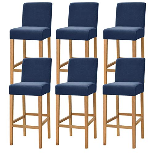 ZHFEL Bar Stuhlhussen,Stretch High Stools Bar Stuhlhussen Velvet Pub Stuhlbezug Abnehmbarer Waschbarer Stuhl Schonbezug für Short Swivel Dining Chair Rückenlehne Barhocker Stuhl-6 Stück-Navy blau