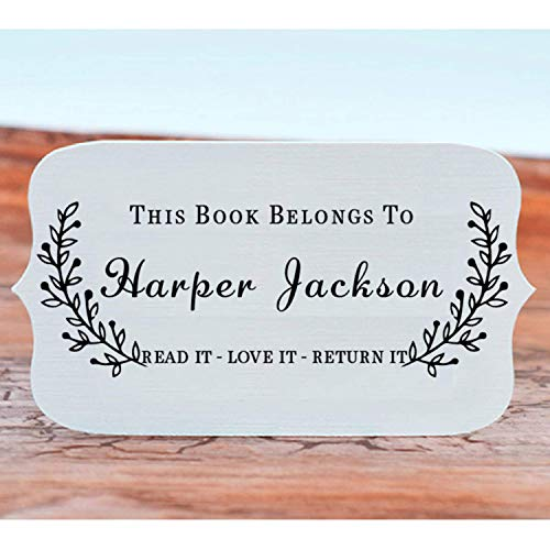"Book Stamp Thank You Stamp This Belongs to Personalized Self-Inking or Wood Handle Custom Classroom Library Teacher Customized Name from The Ex-Libris of 7/8"" x 2 3/8"" Photo #4"