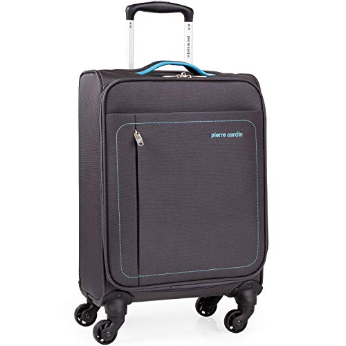 Soft Shell 21 Inch Suitcase with x4 Spinner Wheels - Cabin Aircraft Flybe Emirates Luggage by Pierre Cardin | Fits 55x35x20 Hand Carry On | 21' 30L Light 2.0kg (Charcoal & Blue, Small 4 Wheels)