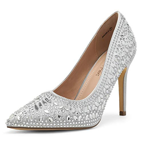 DREAM PAIRS Women's Silver Satin Rhinestone High Heel Pointed Toe Stiletto Pumps Shoes Size 8 M US Rouge-2
