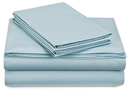 Pinzon 300 Thread Count Percale Cotton Sheet Set - Queen, Spa Blue