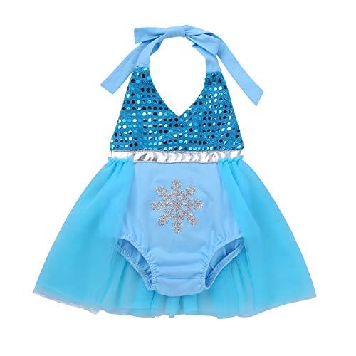 YiZYiF Bébé Fille Déguisement Reine Princesse Barboteuse 1er 2ère Anniversaire Tutu Robe Baptême Robe à Paillettes Costume Noël Carnaval Body Combinaison 0-24 Mois Bleu Ciel 18-24 Mois