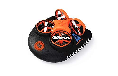 RC TECNIC Hovercraft Teledirigido - Vehículo 3 en 1 (Tierra, Agua y Aire) Mini Drone para Niños y Barco Radiocontrol Lancha...