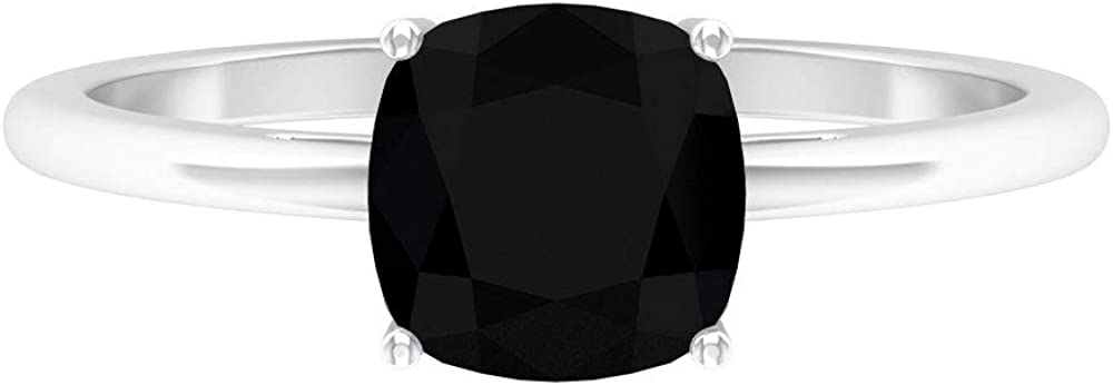 Rosec Jewels - 1.75 CT Lab Created Black Diamond Solitaire Ring, 7 MM Cushion Cut Black Engagement Ring, 14K Gold