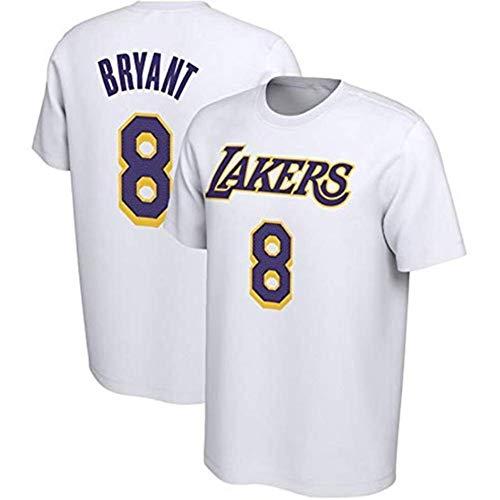 HANJIAJKL Herren Trikot,NBA Lakers Kobe 8-24 Basketball Kurzarm Trikots,1996-2016 Retired Gedenk Kobe T-Shirt  S-XXXL,White 8,XXXL