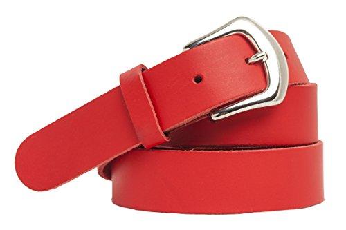shenky Ledergürtel 3cm Breite in schönen Farben (Bundweite 95cm=Gesamtlänge110cm, Rot)