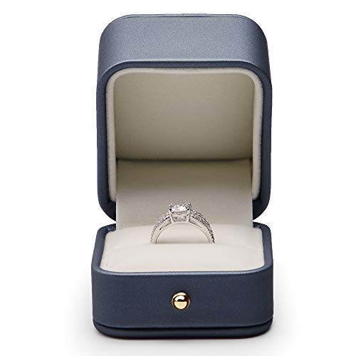 Oirlv Gorgeous Steel-Blue Ring Box Premium Leather Ring Gift Box for Wedding,Proposal Jewelry Storage Case