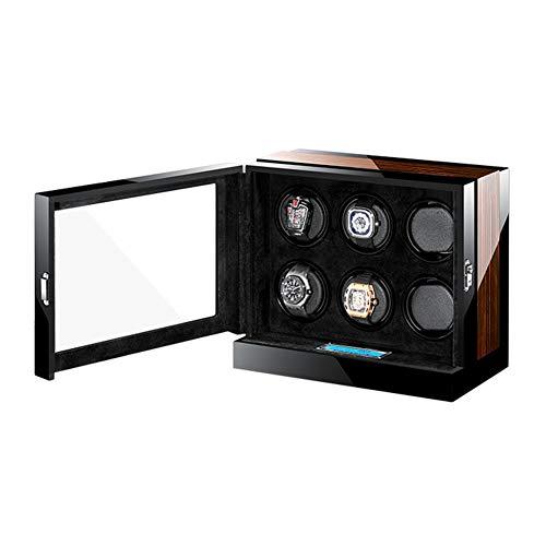 ZNND Automático Mira La Cuerda Caja Pantalla LCD Táctil Almohadas Suaves y Flexibles para Relojes Luz LED Azul Incorporada Motor Silencioso (Size : 6+0)