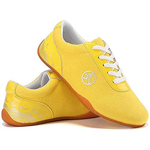 Gmnoy Capacitación de zapatos Tai Chi para hombres y mujeres, zapatos de lona, zapatos de entrenamiento del fondo del tendón, competencia zapatos especiales de kung fu para hombres y mujeres