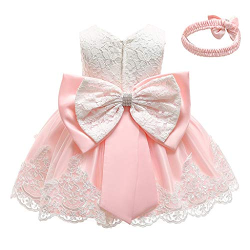 INLLADDY Baby Mädchen Prinzessin Kleid 2tlg Set Bowknot Spitze Taufkleid Festlich Kleid Hochzeit Party Festzug Taufe Tutu Kleid 0-4 Jahre Beige 12-18Monate