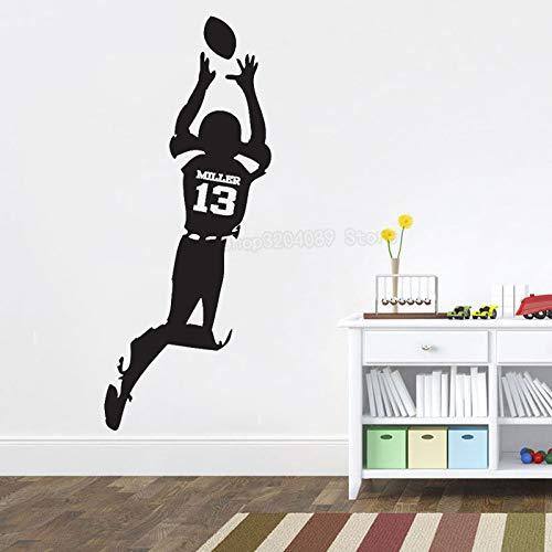 supmsds Nombre Personalizado Jugador de fútbol Pegatinas de Pared Niños Dormitorio Número Personalizado Deportes Calcomanías de Pared Adolescentes Decoración del hogar 71X175CM