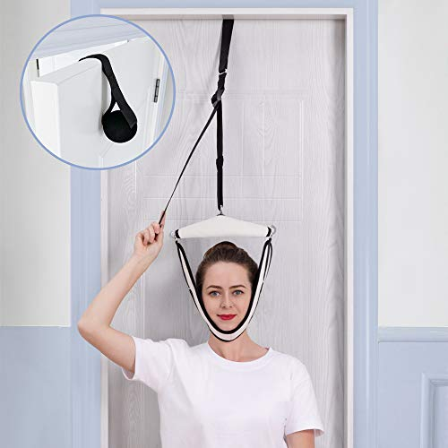 Cervical Neck Traction Device for Neck & Back Pain Relief, Neck Stretcher Over Door for Physical Therapy Helps Arthritis, Spine Alignment, Vertebral Disk Herniation, Home & Outside Use(White)