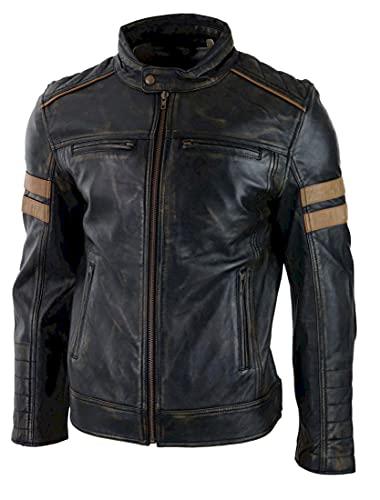 HiFacon Cafe Racer - Chaqueta de piel a rayas para motocicleta, retro, diseño de rayas, color negro