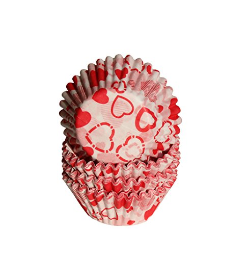 Regency Wraps Regency Greaseproof Baking Cups, Mini, Hearts, White and Red