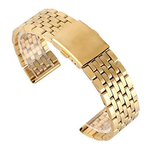 ZXF Correa Reloj, 18MM / 20MM / 22MM de Acero Inoxidable Correa de Oro Band Citurini Di Acciaio por Relojes Orologi con 2 Barras de Resorte (Band Width : 18mm)