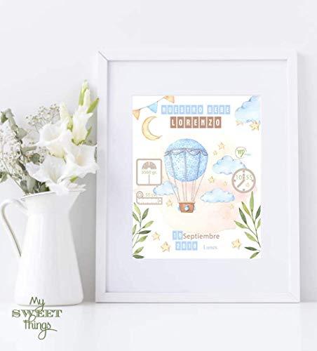Natalicio, recuerdo de nacimiento bebe. Cuadro decorativo con datos del bebé. Incluye marco. Regalo original para recién nacido. Lámina nacimiento bebé