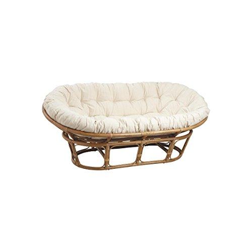 Canapé papasan en rotin avec coussin écru 2 places 169x100cm
