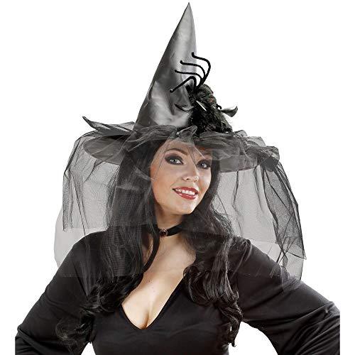 Halloween - Hexenhut mit Tüll, Federn und Spinne für Erwachsene und Jugendliche