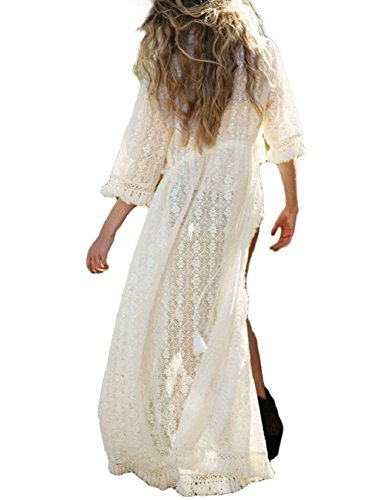 Bsubseach Mujer Traje de Bañpo de Encaje con Borla Blanca Kimono Cárdigan de Verano Ropa de Playa Transparente Cubrir Bikini