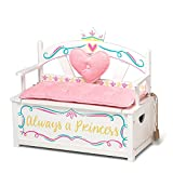 Wildkin Kids Princess Wooden Bench Seat with Storage, Toy Box Bench Seat Features Safety Hinge, Padded Backrest, Seat Cushion, and Two Carrying Handles, Measures 32 x 15.5 x 27.5 Inches (White)