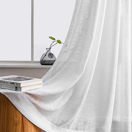 Carvapet Tende Soggiorno Bianche Tende Trasparenti Occhielli Camera da Letto con 2 Fermatenda, 140 x 206cm