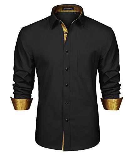 HISDERN Camicia da Uomo Casual Formale Classica Camicie Eleganti Maniche Lunghe Colletto Scozzese vestibilità Regolare Oro Nero