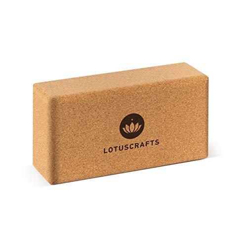 Lotuscrafts Bloque Yoga Corcho Supra Grip - Corcho Natural de Portugal - Fabricación Ecológica - Ladrillo Yoga - Tacos Yoga - Bloque para Yoga - Yoga Block Cork