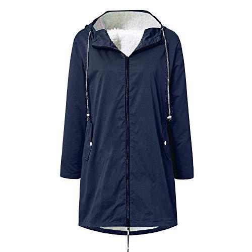 Regenjassen waterdicht dames grote maten Dasongff windbreaker weerbestendig overgangsjas regenjas met capuchon jas outwear regenjas trenchcoat Medium marineblauw