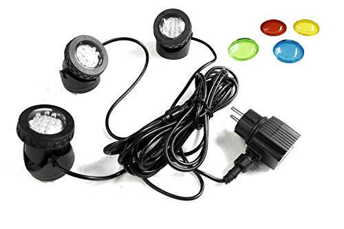 Arnusa Teichbeleuchtung 3er Set LED Springbrunnenbeleuchtung Gartenstrahler Wasserdicht Unterwasserstrahler