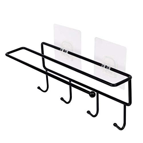 YeVhear - Toallero de papel de metal con ganchos para cocina, despensa, lavandería, organización de garaje, soporte para cacerolas, batería de cocina, color negro