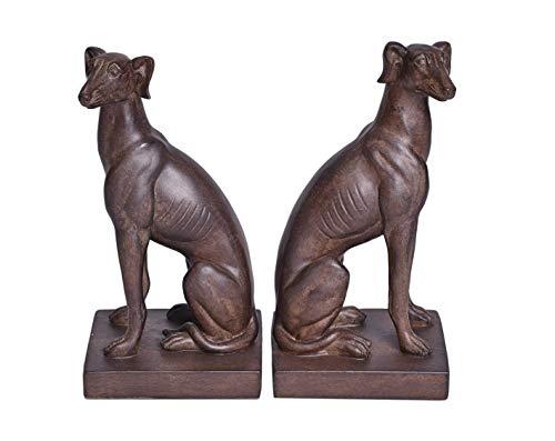 Buchstützen Hunde Windhund Art Deco Antik Elegant Set 2 St. 23 cm Palazzo Exclusiv CW043