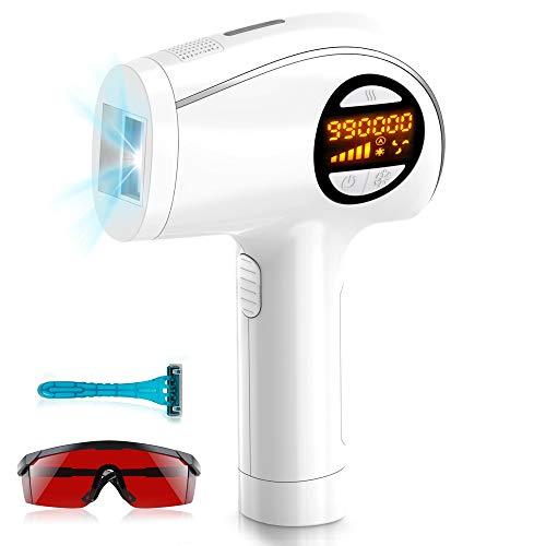 IPL Haarentfernungsgerät für Dauerhaft Schmerzlose Laser Haarentfernung mit Kühlpflegefunktion,für Körper und Gesicht,Präzisionsaufsatz für Empfindlichere Bereiche,990.000 Blitze (Weiß)