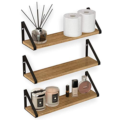 Wallniture Ponza Floating Shelves Wall Mounted Set of 3, Laundry Room and Bathroom Storage Shelf Unit, Natural Burned Rustic Wood Wall Decor with Metal Floating Shelf Bracket