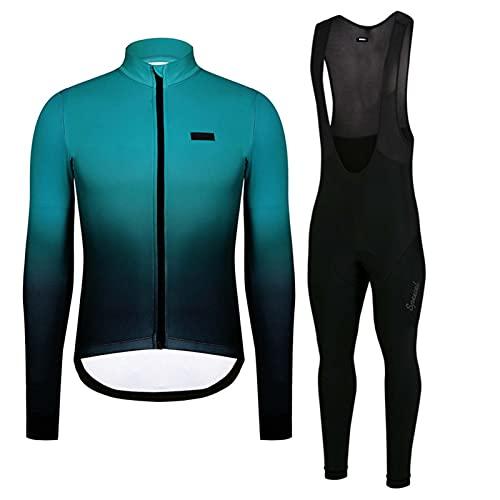 Maglia Ciclismo Uomo Manica Lunga Abbigliamento Set con Imbottiti Silicone 9D ad Antivento asciugatura per MTB Ciclista Corsa All'aperto (A,3XL)