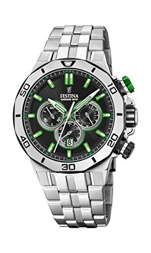 Festina Unisex Erwachsene Chronograph Quarz Uhr mit Edelstahl Armband F20448/6