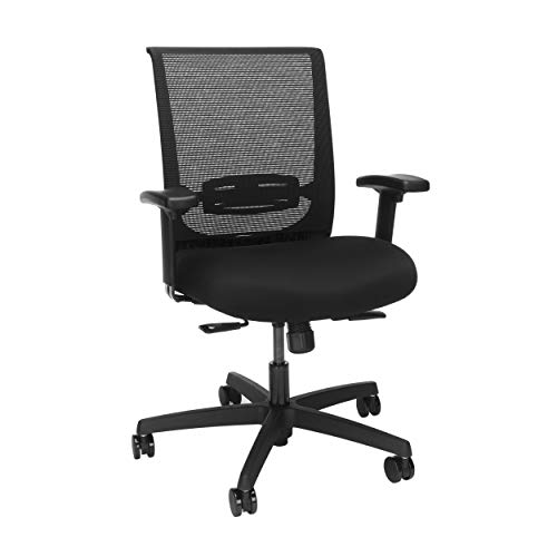 HON Convergence Mesh Back Task Chair with Height-Adjustable Arms, in Black