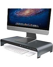 Vaydeer Aluminium monitorstandaard met 4 USB-poorten, ondersteunt gegevensoverdracht, toetsenbord en muis opslagbureau-organizer voor computer, pc-monitor en laptops, grijs