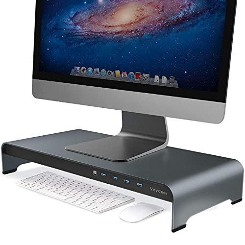 VAYDEER Soporte Monitor Mesa de Aluminio para Monitor con 4 Puertos USB Admite Transferencia de Datos y Carga, Metal Elevador Monitor Que admite hasta 32 Pulgadas para PC, portátil - Gris, Grande