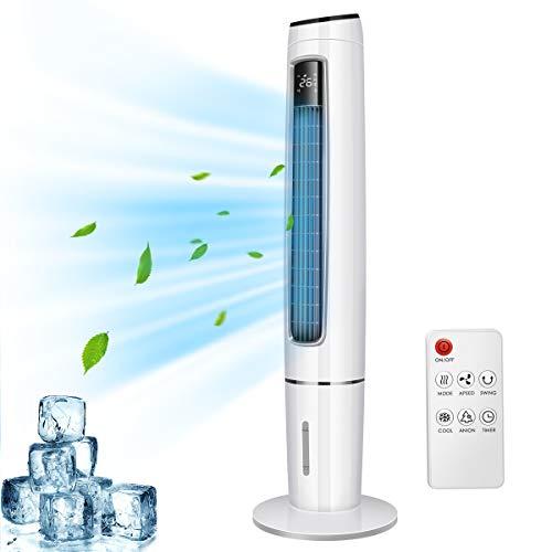 OZEANOS 4in1 Tragbare Mobile Klimalage Wasserkühlventilator Tower Klimagerät Ventilator/Luftkühler/Luftbefeuchter/, mit Fernbedienung, 3,5L Wassertank, 65 W,OT-EC-65 (3.5l)