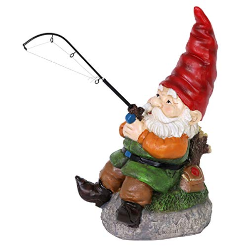 Exhart Good Time Fishing Frank Garden Gnome for Fisherman and Outdoor Enthusiasts - Garden Gnome with a Fishing Rod Decor, Gnome Figurines, Gnomes Garden Decorations for Fisherman 8' L x 6' W x 13' H